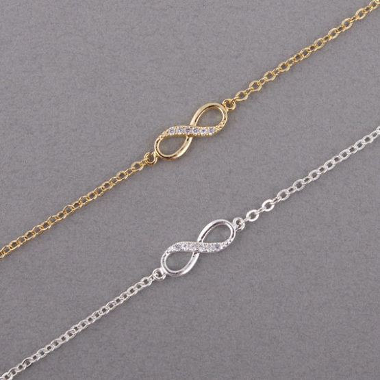 Infinite golden or silver chain bracelet with crystal stones (5)