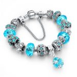 Silver Plated Chain Blue Glass Crystal Beads Charm Bracelet for Women