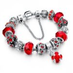 Silver Plated Chain Glass Crystal Beads Charm Bracelet for Women (5)