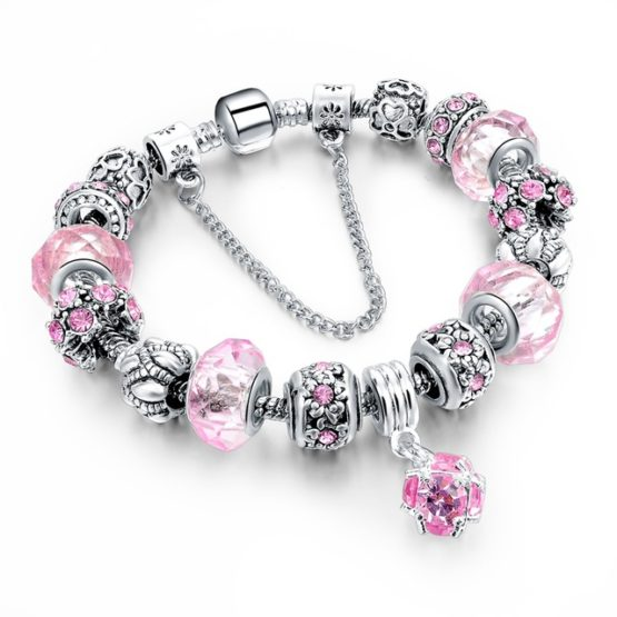 Silver Plated Chain Glass Crystal Beads Charm Bracelet for Women