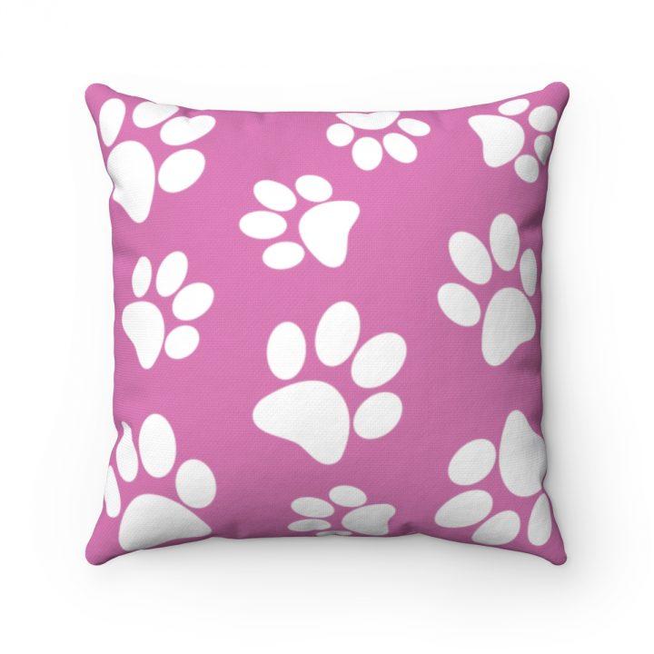 Dog Pet Footprints Pink Polyester Square Pillow