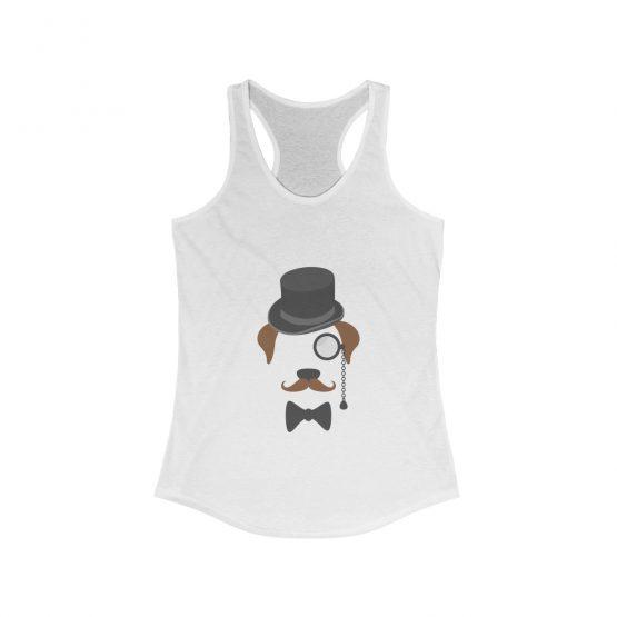 Gentleman Dog with Hat Women's white Tank Top
