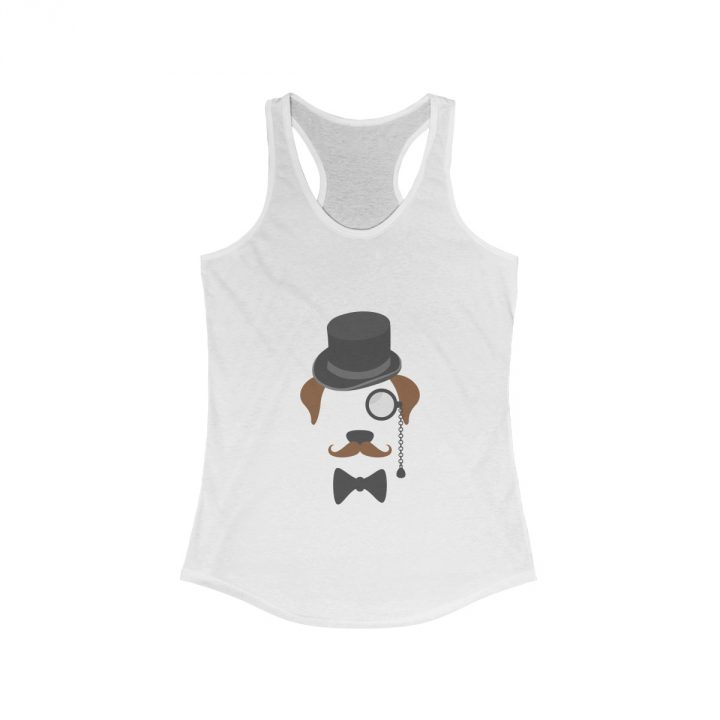 Gentleman Dog with Hat Women's white Tank Top
