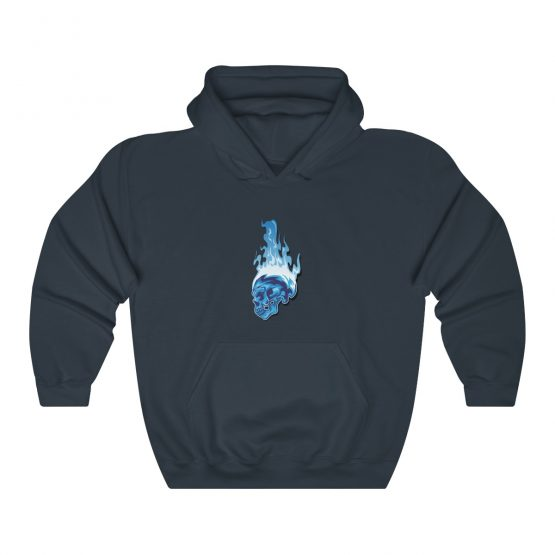 Unisex Hooded Sweatshirt Blue Flaming Skull