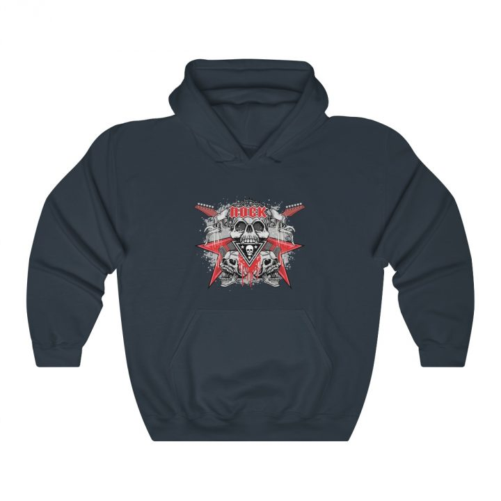 Unisex Hooded Sweatshirt Rock Emblem with Skull