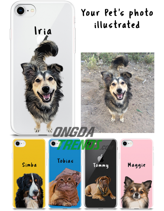 custom phone case dog cat photo illustrated pet cartoon